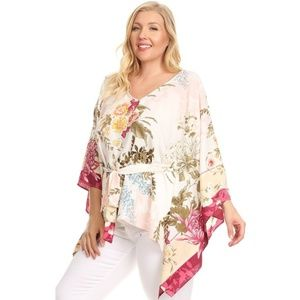 Sweaters - White floral print, 3/4 kimono sleeve top in a rel